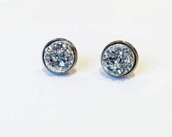 Silver Druzy Earrings, silver earing studs, silver sparkle earrings, Round Silver Earrings, Silver Circle Earrings, Silver Druzy Studs