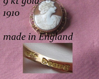 England  Hallmarked  Antique Edwardian Gold Shell  Cameo-1910