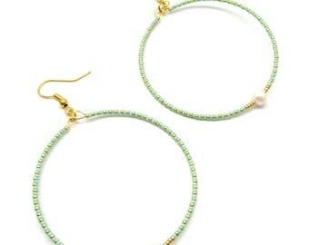 Beaded hoop earrings minimalist hoop earrings dainty delicate earrings fresh water pearl earrings boho earrings minimalist jewelry