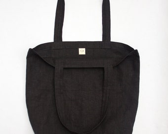 black linen tote bag / packable and lightweight