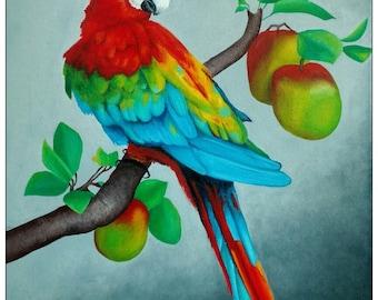 Gemälde »Roter Papagei« (Öl auf Leinwand, 40,0x50,0 cm)