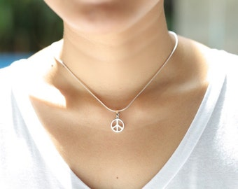 Silver Peace Charm, Silver Pendant, Sterling Silver, Silver Chain, Pendant, Silver Necklace, Bohemian Necklace, Cute Gifts,(P64)