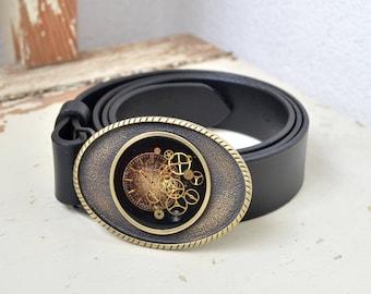 Steampunk Leather Belt, Black, Buckle with Watch Parts, Leather, Belt, Buckle, Steampunk, Vintage Belts Buckle, Unique Belt, Buckle, Bronz