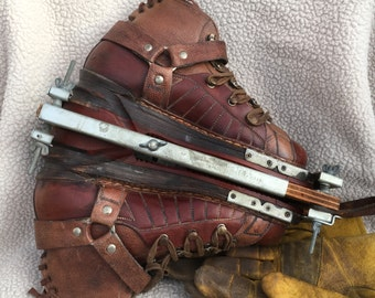 Leather Ski Boots Vintage Two Tone Downhill Sharp!!