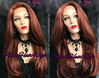 Dark Copper Blow Out Human Hair Blend Swiss Lace Front Wig - Jessica