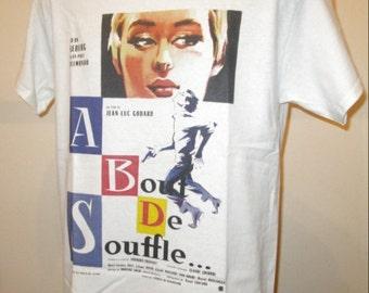A Bout De Souffle : 1960 French Film Poster T Shirt - Retro Movie Apparel Fashion Graphic Tee Men & Women 327