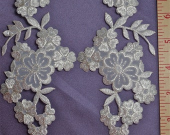 Silver Metallic Iron On Applique Set, Craft applique,