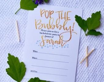 Semi-custom 5x7 Bachelorette Party Invitation, Bachelorette Party, Invitations, Hand Lettered Invitations, Fill in the blank invitation