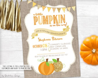 A Little Pumpkin Baby Shower Invitation Printable
