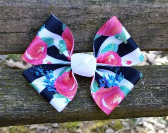 Black and White Stripe Rose Hair Bow (3.5 inch)