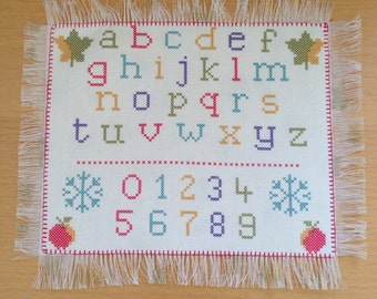 Sampler Style Printed Cotton Floor Rug made for Sylvanian Families Nursery or School