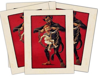 Victorian Krampus- The Christmas Demon individual holiday card (Boy Carried by the Ears) Blank Inside