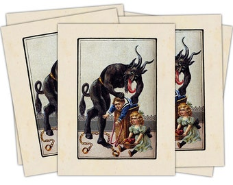 Victorian Krampus- The Christmas Demon individual holiday card (Boy Stuffed into Barrel) Blank Inside