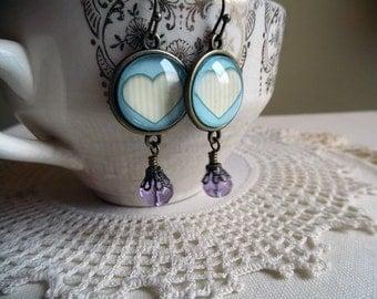 Powder Blue Valentines Day Heart Earrings