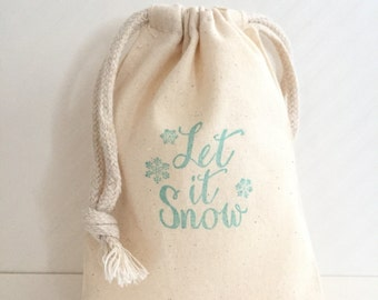 10 Let it Snow Favor Bags - Winter Wonderland Party Favors - Winter Favor Bags - Snow Party Favor - Snowflake Favor Bags - Winter Favors