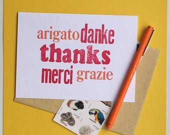 Language Thank You  Letterpress Greeting Card FREE SHIPPING