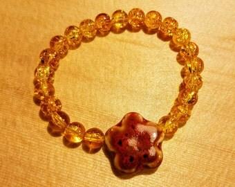 Red Stone Flower Bracelet