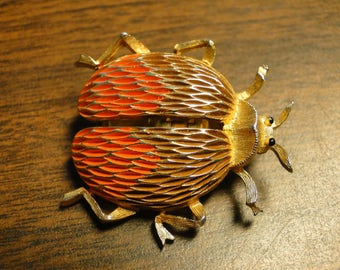 "JJ Jonette Scarab Beetle Brooch Pin - Jonette Jewelry - JJ Jewelry - Signed JJ - 1 3/8"" X 1 1/2"" - Great Find!"