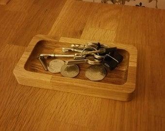 Oak Pocket Tray, change tray or key tray.
