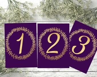 Printable Gold and Purple  Wedding Table Numbers 1 - 22 Printable wedding table numbers Table Numbers  Wedding Table Numbers