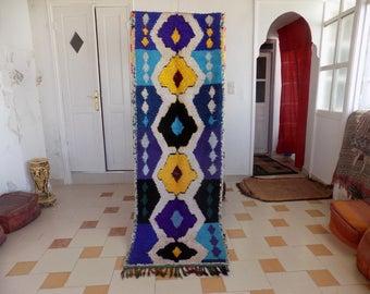 vintage Moroccan  Boucherouite/ runner rag rug