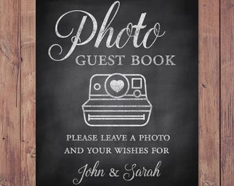 Photo guest book - please leave a photo and your wishes for - custom wedding guest book - rustic guest book - PRINTABLE 8x10 - 5x7