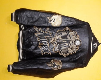 rare vintage Avirex Twin Dragon 74 75 leather jacket embroided 2XL size