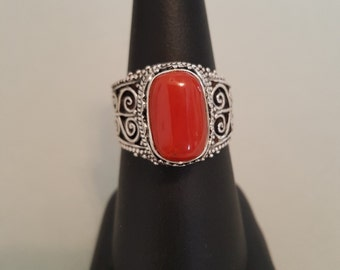 Red Coral Filigree Sterling Silver Finger Ring - Size 8-1/4