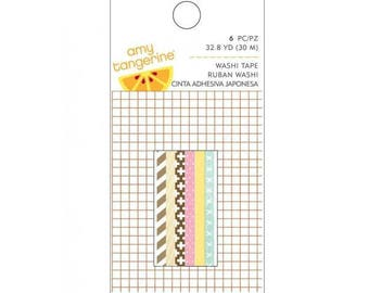 American Crafts 6 Piece Amy Tan Finders Keepers Mini Washi Tape Roll, 32.8 yd