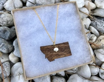 Montana, Montana State Necklace, Wooden State Necklace, Montana Jewelry,  Personalized Gift, Going Away Gift