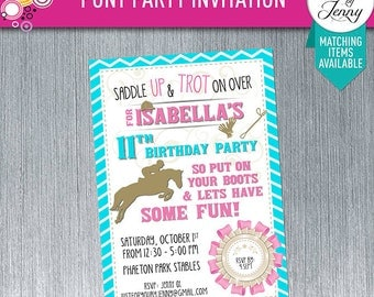 Pony Party Invitation - Made to Order