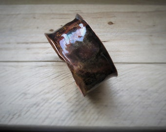 Bracelet of copper with Patina and rivets of silver