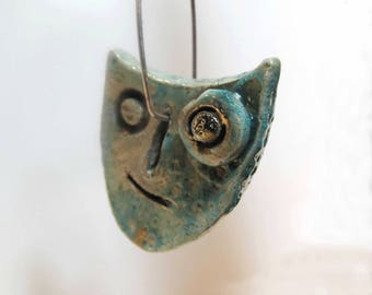 Raku ceramic pendants earrings-tribute to Miró