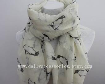 Penguin Scarf, Penguin Gift, Penguin Baby Shower, Scarf Shawl, Lightweight Scarves, Spring Scarf, Summer Scarf, Gift, For Women