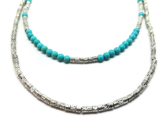 Tibetan Silver and Turquoise Necklace, Double Strand Turquoise Beaded Necklace, Turquoise and Silver Necklace, December Birthstone