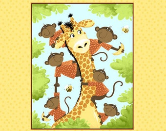"Oolie the Monkey Quilt Panel 36"" from Susybee SB20210-310 - juvenile susy bee cotton woven fabric children kids giraffes yellow safari"