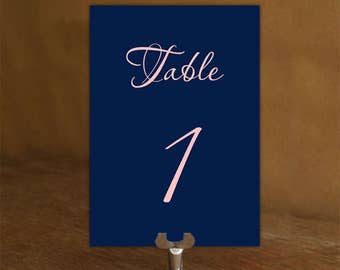 Navy and Blush Pink Wedding Table Numbers Cards 1-28 tables, Tabellennummer,  Editable Table Numbers, Digital File, code-024