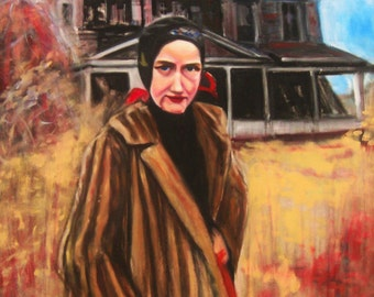 Little Edie in Front of Grey Gardens