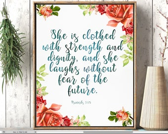 She is clothed in strength and dignity, Nursery bible verse art print,  Proverbs 31:25, Scripture art print, baby girl print, bible quote