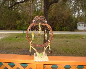Native American Dream catcher, Deer Antler Dreamcatcher, Turkey Feathers