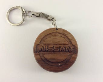 NISSAN Car Logo Wooden Keyring Keychain Fob * Can be PERSONALISED *
