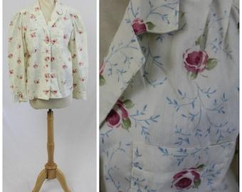 Vintage 60's 70's Handmade Rose Floral Cotton Shirt Prairie Boho Bohemian Blouse Top