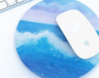 Round mouse mat / mouse pad in my Sea and waves design, from my original hand painted acrylic painting