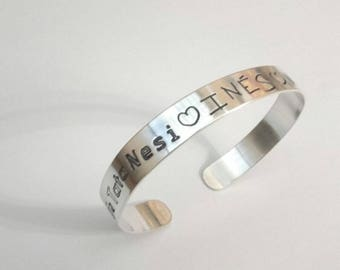MODERN custom silver bracelet with writing for children-FREE shipping - Filii - cuff with much style - Filii - made by hand