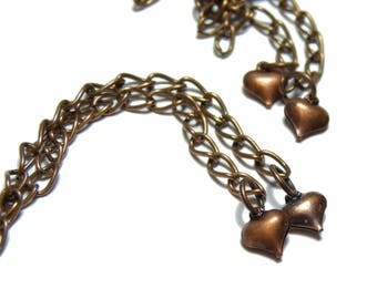 5 necklace in copper with a small heart approx. 70 mm