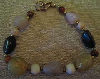 Un Worn Genuine Gemstone Nugget Bracelet With Brass Beads Brass J Clasp
