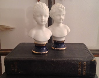 Charming Pair of Antique Bisque Busts