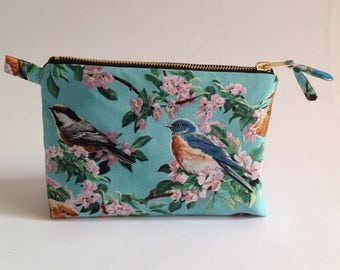 BlueBird fabric with pink blossom, handmade cosmetic, toiletry bag, pouch
