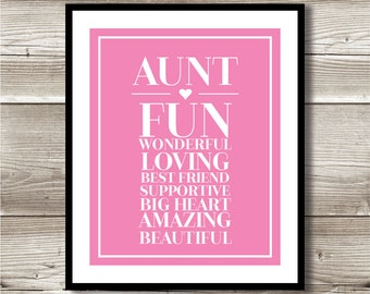 Aunt Print; Gift for aunt; Digital Print; Instant Download; 8x10