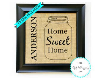 sweet welcome to your new home gift ideas. HOME SWEET Custom Family Monogram Name Sign Burlap Print Housewarming  Gift Ideas House Warming Gifts Personalized Best New